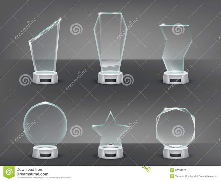 Collection Vector Illustration Of Modern Glass Trophies, Prizes Stock Vector - Illustration of celebration, crystal: 87591623