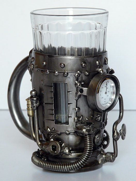 Tea glass holder wiht thermometer :) ...perfect gift for a tea drinking trekkie (borg)