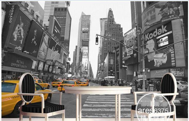 3d зал обои на заказ росписи нетканые фотография конструкции На улицах желтое такси украшения живопись 3d настенные фрески обои