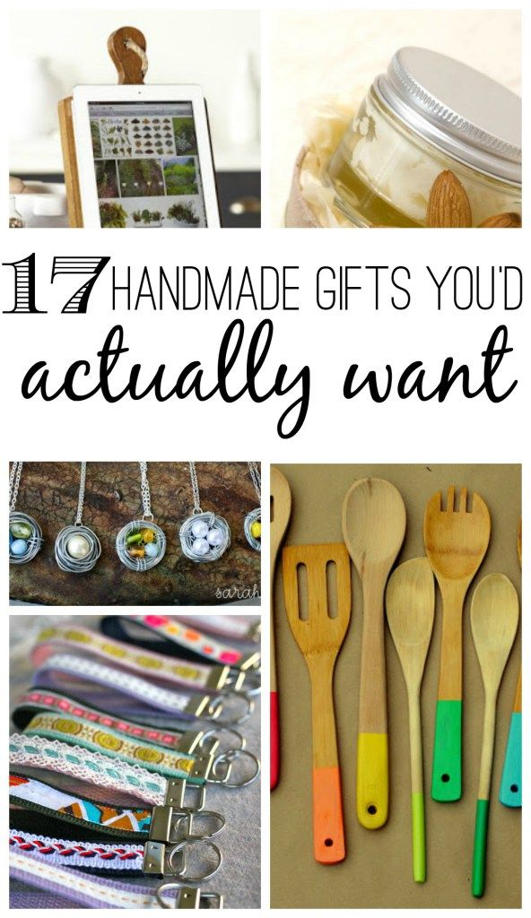 These 17 handmade gift ideas are things you'd actually want! Most of the ideas are super easy, even for people who don't consider themselves crafty. Perfect handmade gifts for her for any occasion: Christmas, birthday, mother's day, baby shower, wedding shower, or just because :)