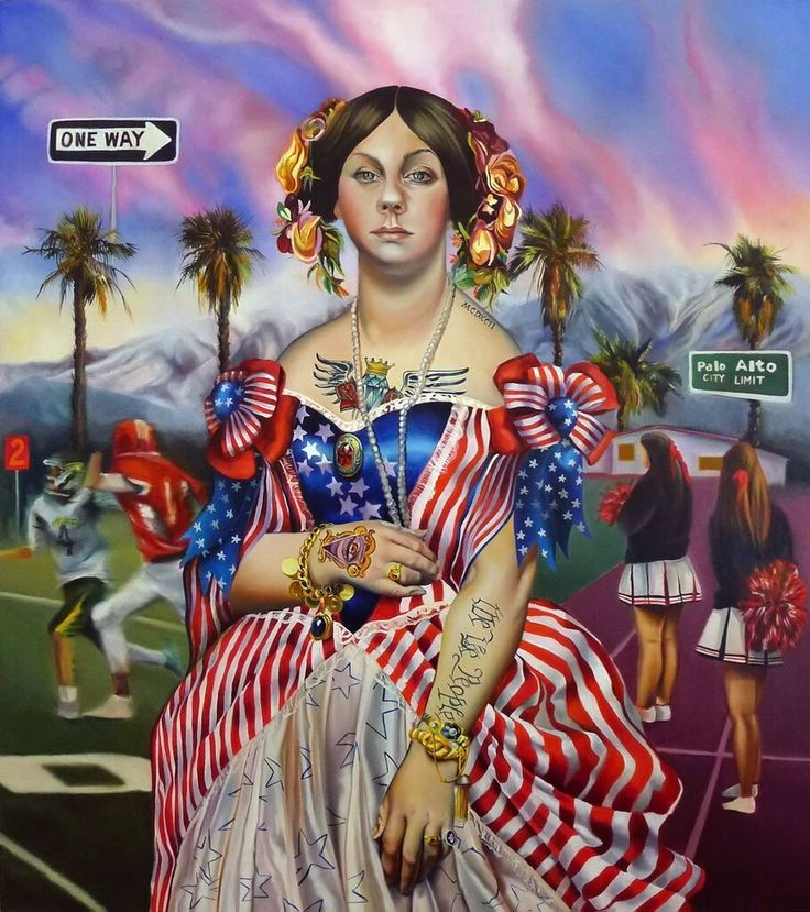 """Americana"", yolk tempera and oil on linen, 90cm x 80cm, 2015"