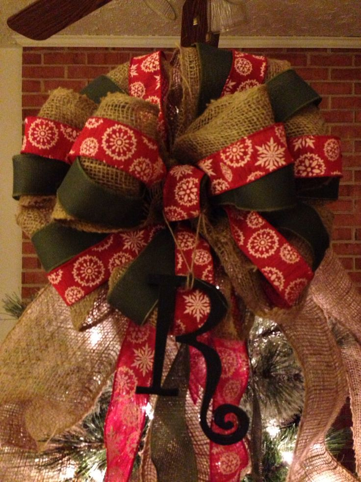 xl christmas tree topper bow 6 ft streamers 14 in width burlap natural rustic primitive. Black Bedroom Furniture Sets. Home Design Ideas