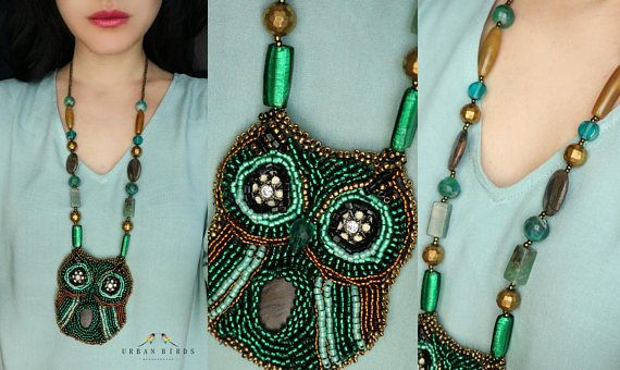 Beaded owl necklace