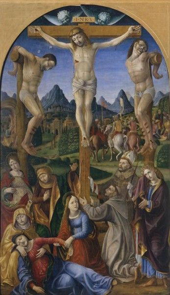 Crucifixion with Saints Catherine, Francis, Bonaventure (?) and Peter (?)