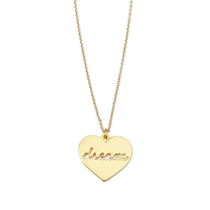 """Dream necklace - available in gold and silver. Get 25% off this necklace with code """"foxypin"""" http://www.foxyoriginals.com/Dream-Necklace-in-Gold-2.html Tags: gold necklace, gold jewelry, dream, follow your heart, heart jewelry"""