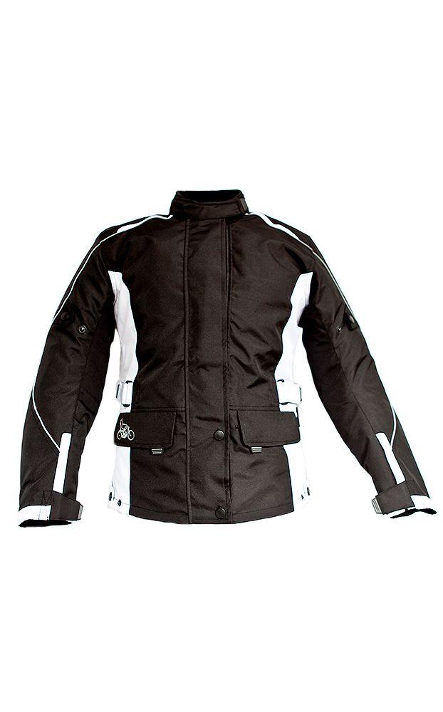 Sizes 8-34: LadyBiker Rowan Ladies Textile Motorcycle Jacket with FREE Textile Cleaner - Black & White - LadyBiker.co.uk