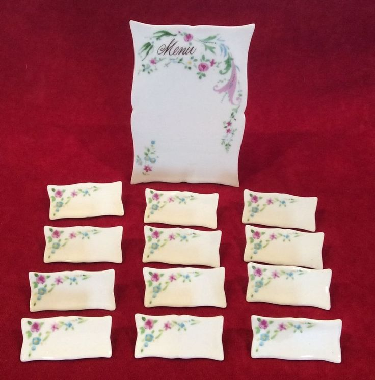 Vintage Paris Porcelain Menu Stand   12 Place Card Holders White Pink Floral #VICTORIAN