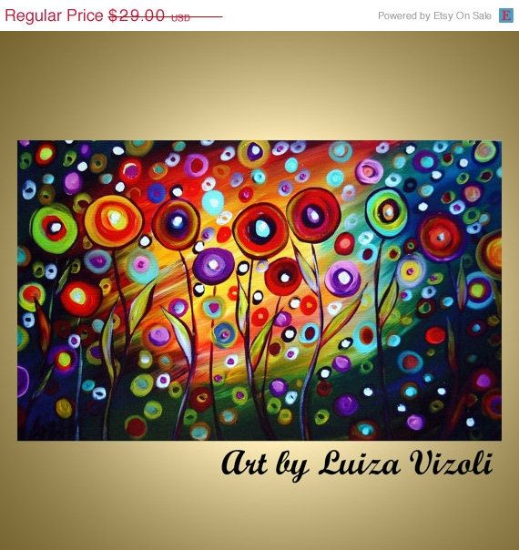on SALE Happy Poppies Whimsical Fantasy Flowers Art unstretched print on canvas