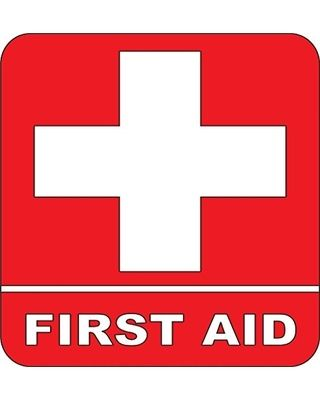Design with Vinyl VINY-347-Red-17 As Seen Decor Item First Aid Kit Emergency Medical Symbol Logo Picture Art Peel and Stick Sticker Vinyl Wall Decal, 9-Inch x 9-Inch