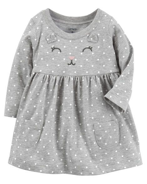 Baby Girl Kitty Jersey Dress from Carters.com. Shop clothing & accessories from a trusted name in kids, toddlers, and baby clothes. https://presentbaby.com