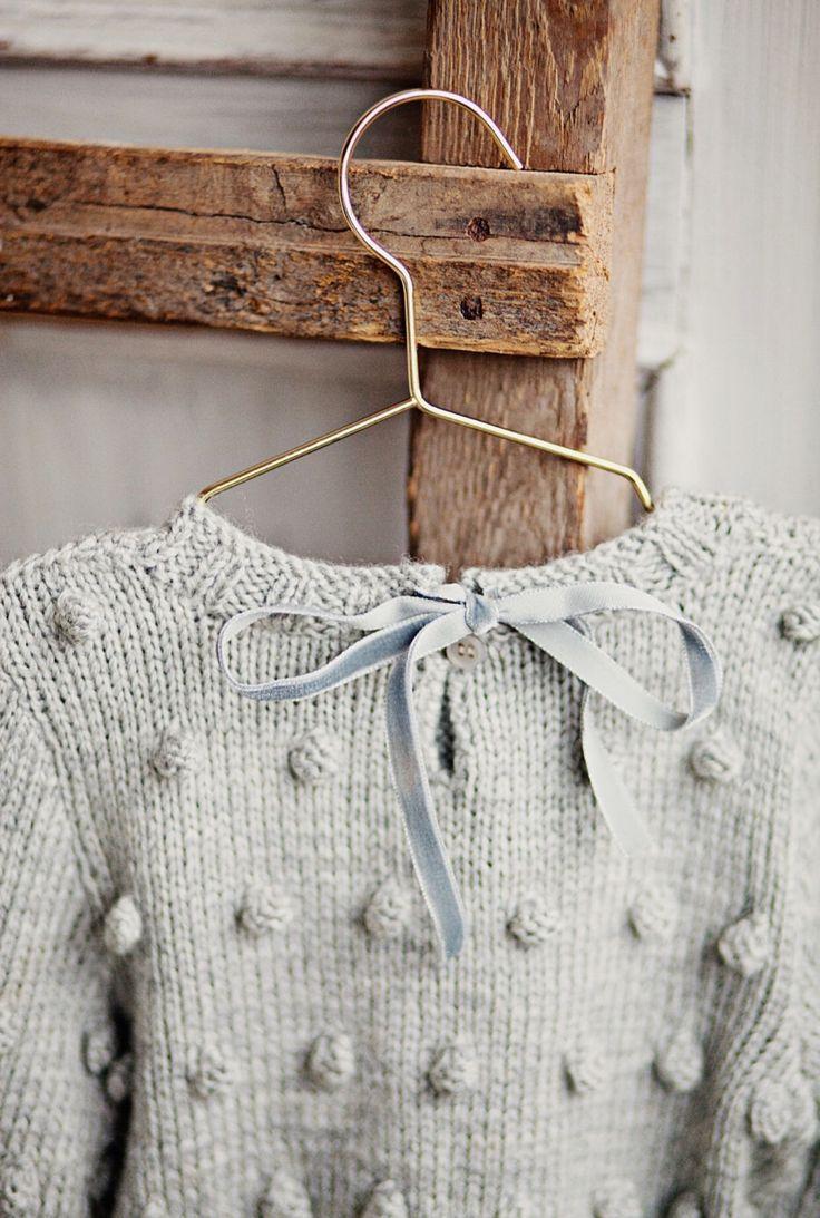 559df8b16 Hand Knitted Merino Wool Popcorn Sweater With Velvet Ribbon ...