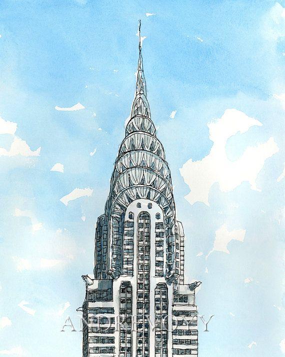 chrysler building drawing. new york chrysler building art print from an original watercolor painting chrysler drawing