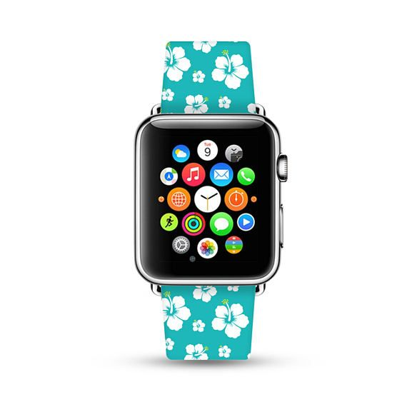 Apple Watch Band 38mm women, Apple Watch band 42mm for 1 & 2, Apple Watch Strap genuine Calf Leather Wrist Band cyan hawaii flowers floral
