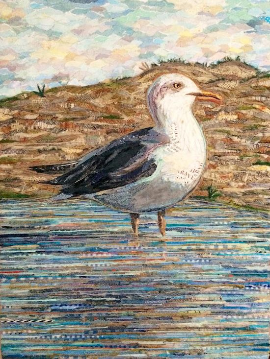 SEAGULL II / GAIVOTA II (Praia dos Salgados / Algarve) 100% collage fabric and paper on plywood 30 x 40cm ©philippe patricio 2017 / all rights reserved