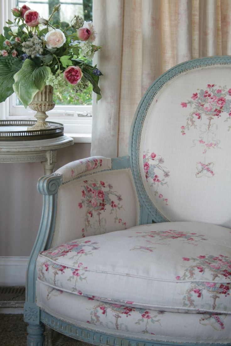 Chair shabby chic painted rocking chairs - Pretty Hand Carved Painted Rose Print Chair From Kate Forman Very Chic For The Cottage