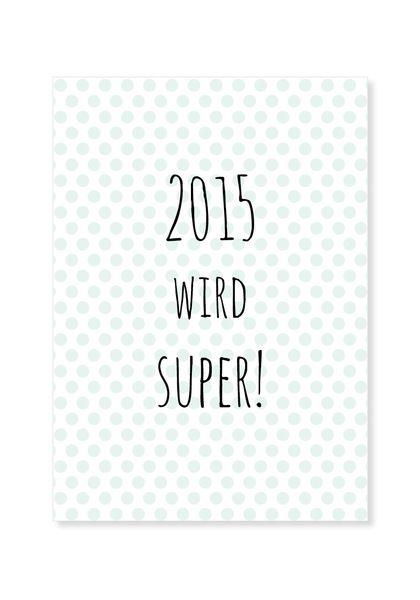 Typo Postkarte 2015 wird super Neujahr // Print postcard new year via DaWanda.com