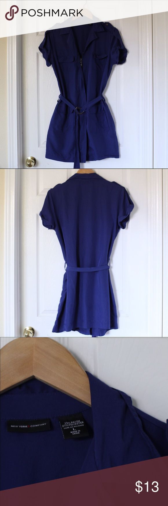 Blue Zip Up Dress This Blue Front zip dress from New York & Company is perfect for spring and summer. Lightweight, and pockets at the hips and on the chest. Don't hesitate to ask a question or make an offer. New York & Company Dresses