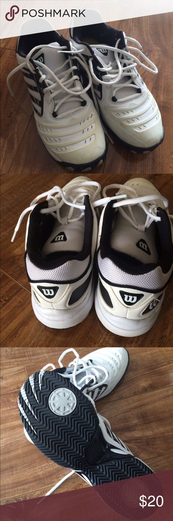 Men's Wilson Tennis Shoes Like brand new!  White pair of men's Wilson tennis shoes. Size 7.5.  A little yellow showing on the plastic part on the toes of the shoes.  So selling super inexpensive. Wilson Shoes Sneakers