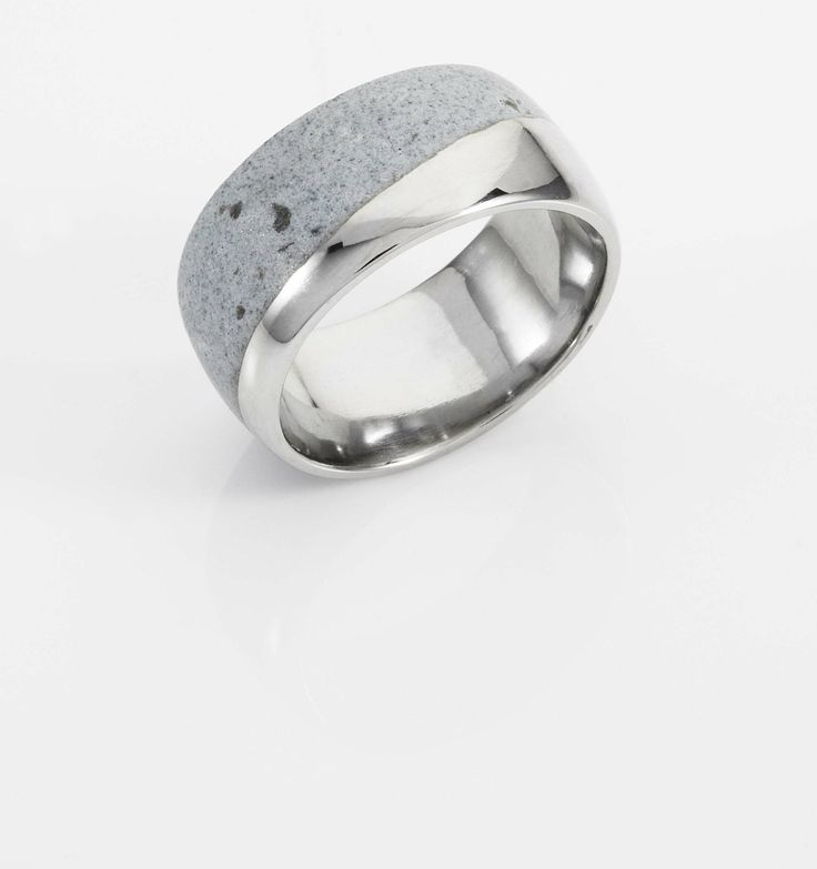 Mens White Gold Wedding Band with Cement on Diagonal