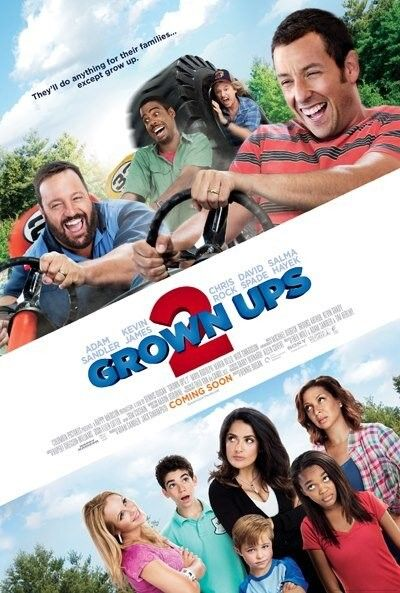 GROWN UPS 2 movie poster. Check out the first poster for Grown Ups 2, starring Adam Sandler, Kevin James, Chris Rock, David Spade and Salma Hayek. Dennis Dugan directs the comedy from the script by Tim Herlihy and Fred Wolf, which opens in theaters on July 12th via Sony Pictures.