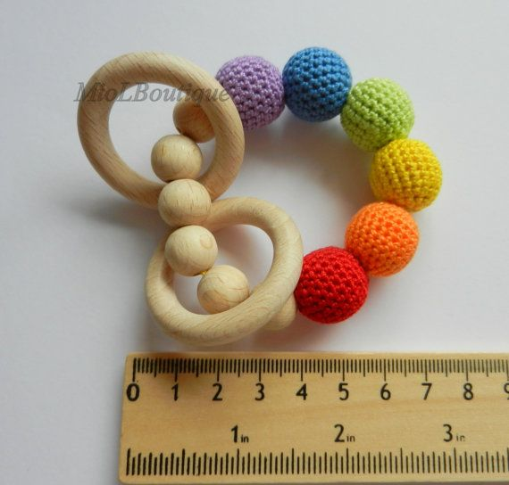 Price for one toys. Colors - rainbow - lavender, blue, green, yellow, orange, red  On a chochet string there are 6 crochet wooden balls and 6