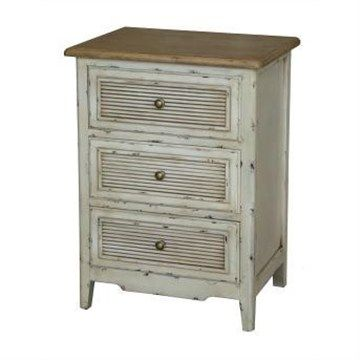 Wembley Two Tone Distressed Pine Timber 3 Drawer Bedside Table