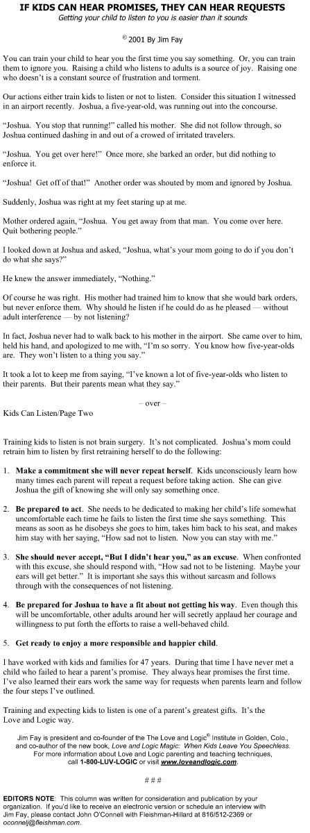 If Kids Can Hear Promises, They Can Hear Requests. #parenting #tips from Love and Logic #family #kids