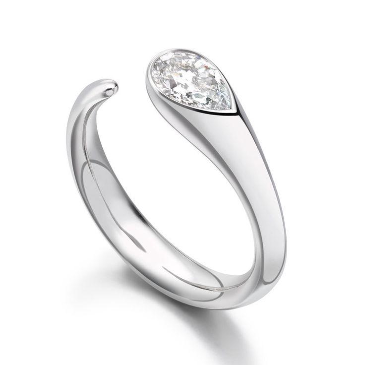 Paul Spurgeon // Single stone pear-cut diamond ring // Contemporary Engagement Rings and Diamond Jewellery