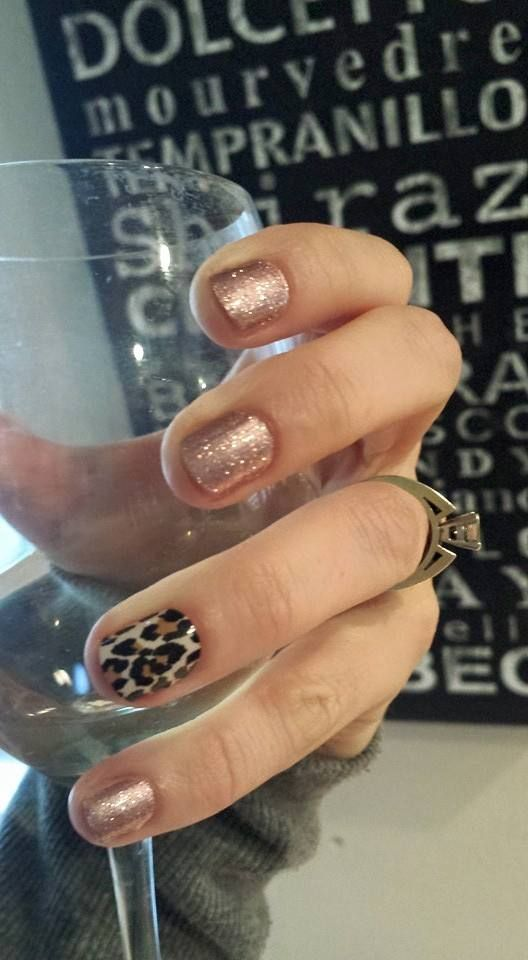 Jamberry Rose Gold Sparkle and Natural Leopard.  Love this combo!  Emily Nelson-Jamberry Independent Consultant https://enchantingjams.jamberry.com/us/en/
