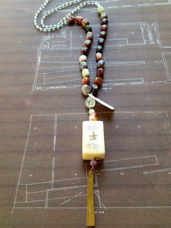 Long Beaded Statement Necklace // Rosario With Agate, Crystal Aquamarine, Hand…