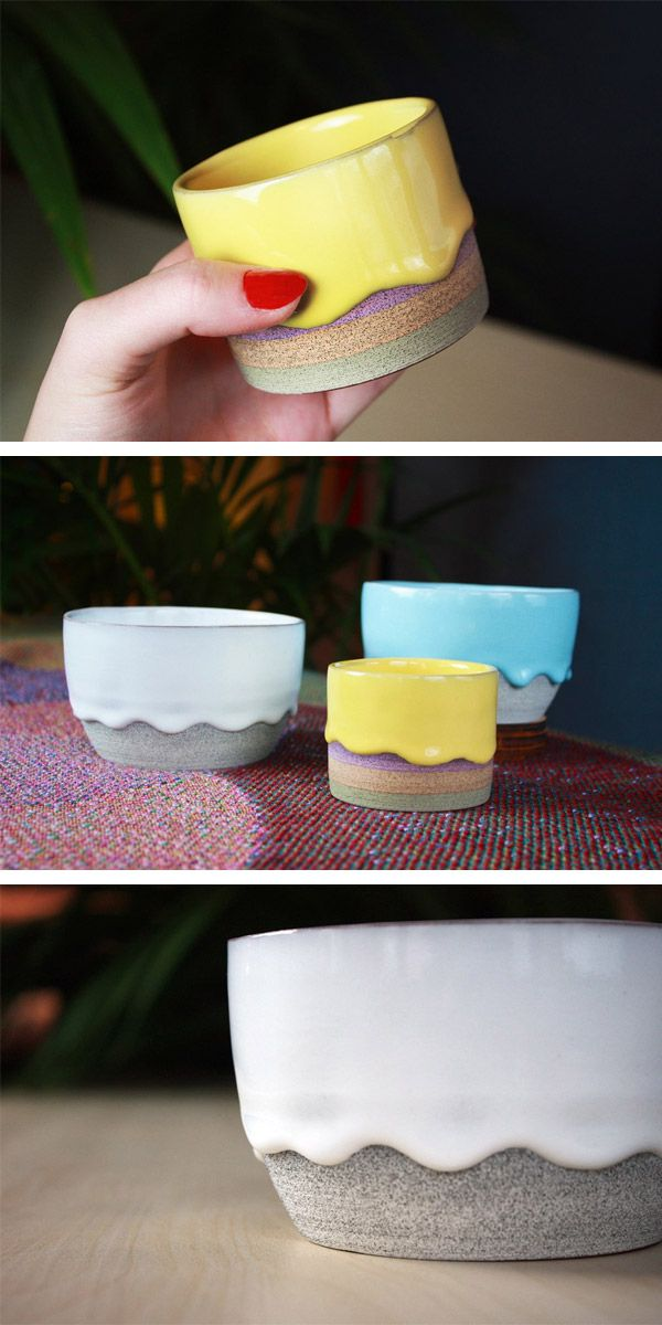 These versatile bowls from Philadelphia-based ceramic artist Brian Giniewski are perfectly sized for a variety of uses. Each bowl is handmade and features Giniewski's signature combination of a lightly textured ceramic base paired with a unique overlay of thick paint-like drips of glaze.