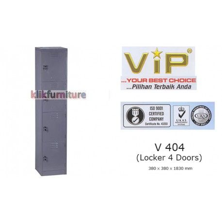 V 404 VIP Lemari Locker 4 Pintu Condition:  New product  Locker 4 doors/4 pintu Ukuran 38 x 38 x 183 cm Powder Coating German Technology, Metal, Tahan lama, kuat, Anti karat