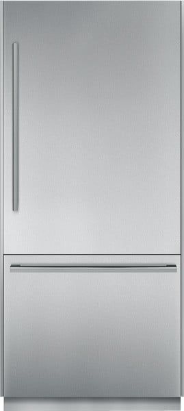Thermador T36BB810SS 36 Inch Built-in Fully Flush Bottom Freezer Refrigerator with 19.7 cu. ft. Capacity, 2 Adjustable Glass Shelves, Full Extension Drawers, Cantilever Racks, LED Interior Lighting, Internal Ice Maker, Star-K Certified Sabbath Mode and ENERGY STAR: Masterpiec