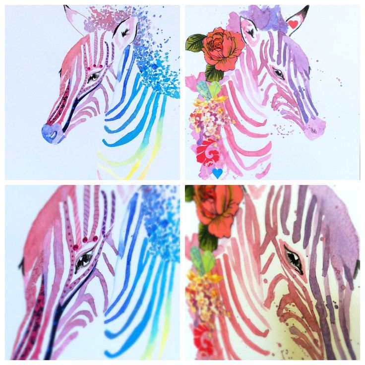 Two brand new zebras, one rainbow, one purple. Watercolour, paper cuts, fabric and gems.