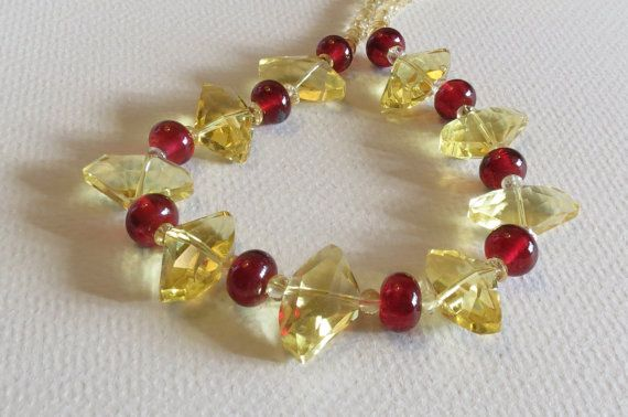 Handmade Necklace Chunks of Yellow Glass Lampwork Beads