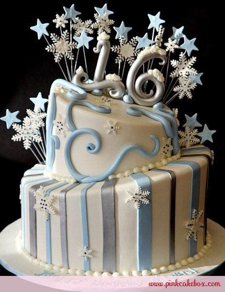 Ringing in the new year, our popular line of winter themed sweet 16 cakes returns with this two tier snow-capped cake covered in white fondant. Other color