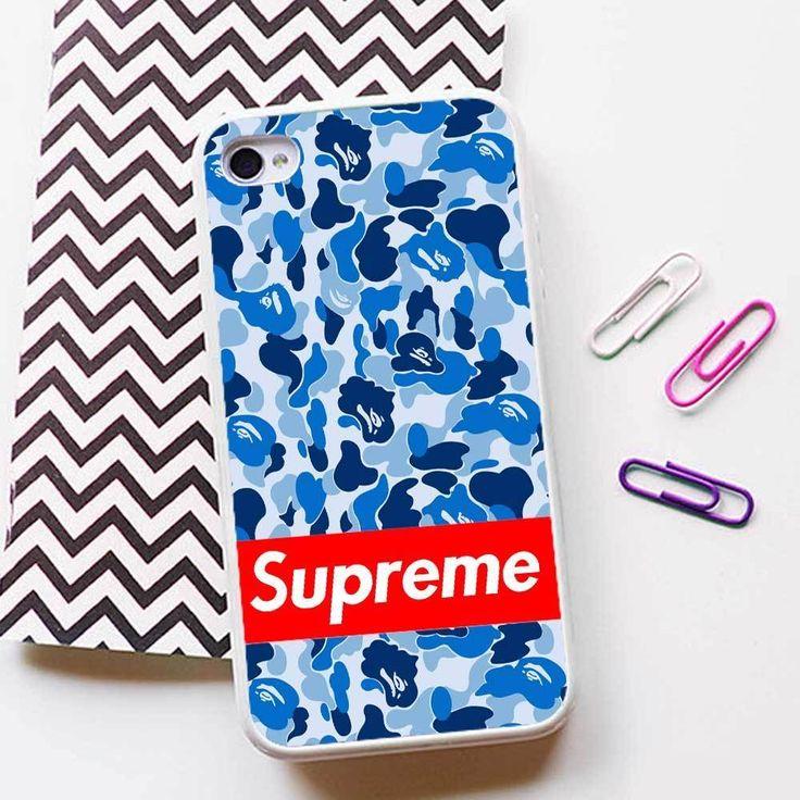Bape Camo Supreme Blue Case for iPhone 4 5 6 6plus 6s 6s plus Rubber/TPU Plastic #UnbrandedGeneric