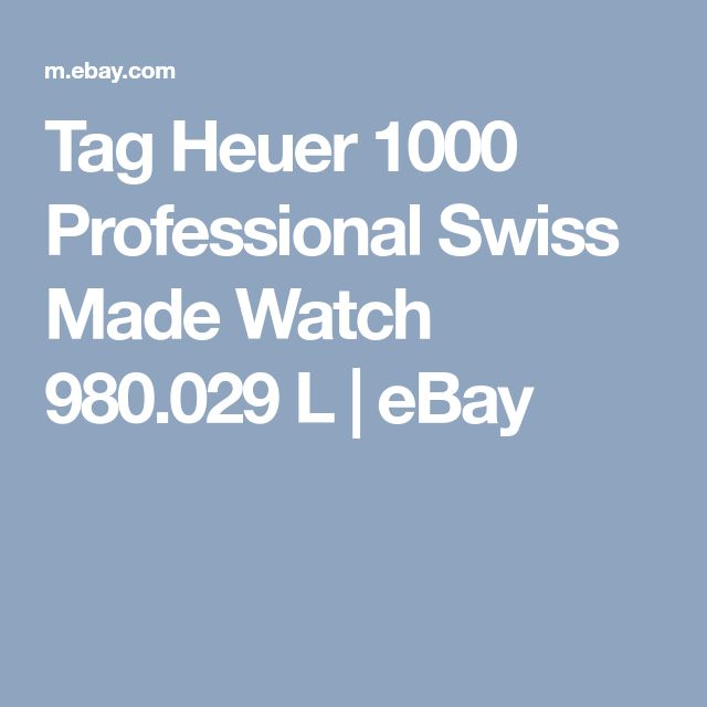 Tag Heuer 1000 Professional  Swiss Made Watch 980.029 L     eBay