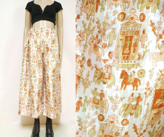 Vintage 90s Tribal Pants Moroccan  Semi Sheer Elephant Print Trousers Yoga Boho Hippie High Waist Vtg 1990s Size XS-S