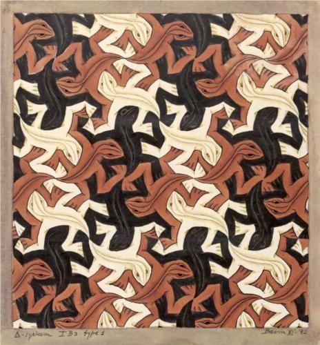 Lizard - Artist: M.C. Escher Completion Date: 1942 Style: Op Art Genre: tessellation