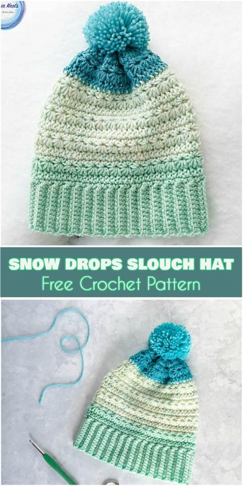 Snow Drops Slouch Hat [Free Crochet Pattern] New pattern, icy colors, warm and cozy slouch!