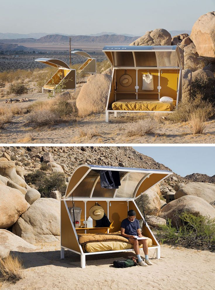 Tucked into the rocky surrounds of the Californian desert, are these little 'wagons', that can be booked for artists, writers, thinkers, hikers and campers, to stay in.