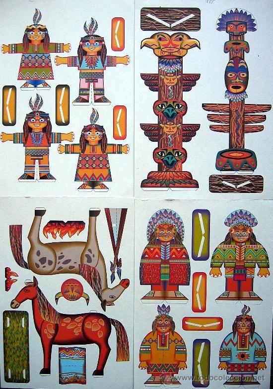 8 LÁMINAS RECORTABLES LOTE COMPLETO ' INDIOS AMERICANOS ' CURIOSO (Ver láminas y fotos)