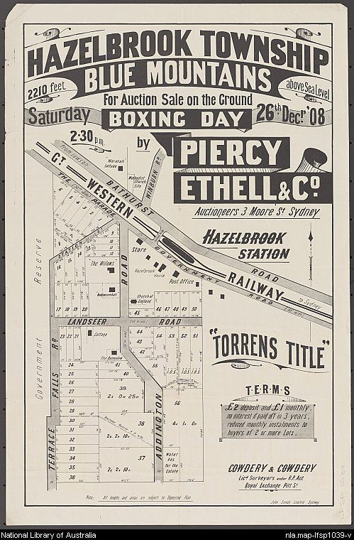 Piercy Ethell & Co. Hazelbrook township, Blue Mountains [cartographic material] : 2210 feet above sea level for auction sale on the ground Saturday Boxing Day 26th Decr. '08 2.30 p.m.