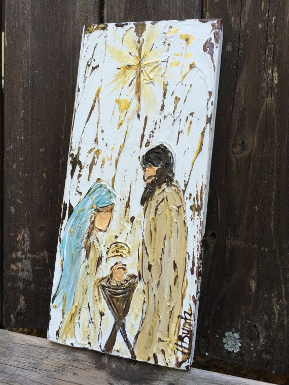 Nativity painting, nativity gift, christmas decor, rustic nativity art