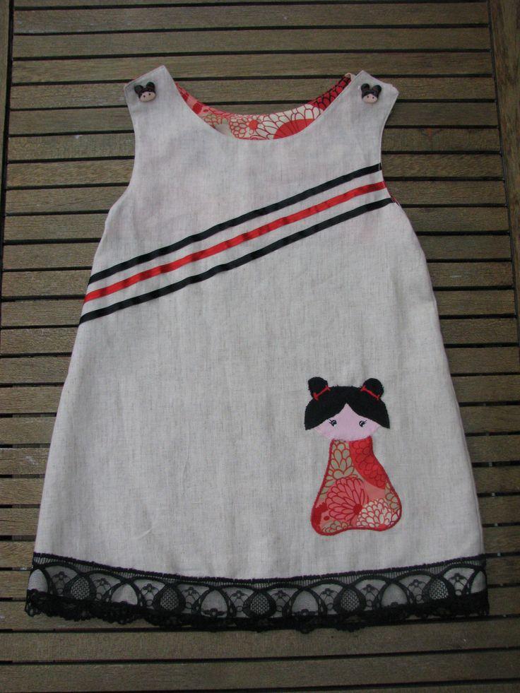 Pour une robe taille 4/5ans Pour une tunique taille 6/7 ans (à porter sur un pantalon ou alors c'est très, très court !) Reproduire le patron . Attention les bretelles du dos sont plus longues que celles du devant ( c'est pour la boutonnière !) Les pointillés...