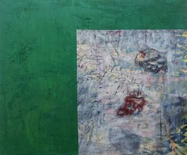 "Saatchi Art Artist Maia S Oprea; Painting, ""CRUST"" #artCRUST is about the perceptual relation between the shock of the pure tone of green (a mixture of veronese and emerald green over layers of yellow and red ) and the gestural and dynamic surface next to it #underwater #light #colour #green #emerald"