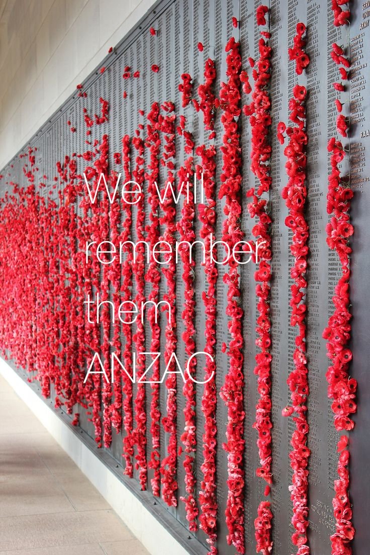 ANZAC Day 2015 100 years since the first landing at Gallipoli. Poppies mark the names of Australians who died during wars on the wall of the Australian War Memorial.