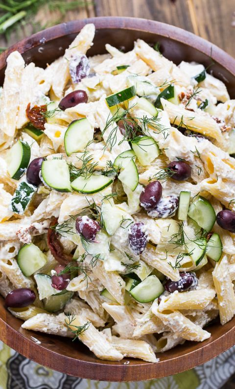 Tzatziki Pasta Salad with greek yogurt, feta cheese, and olives. Creamy and delicious!