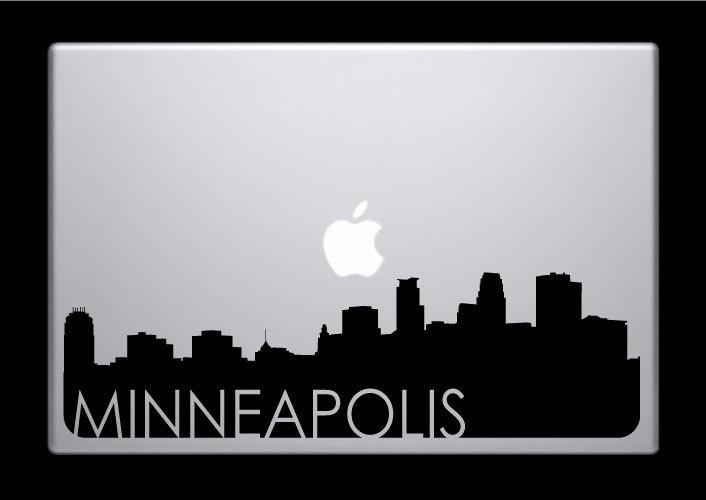 Minneapolis skyline macbook decal with writing macbook sticker laptop sticker 3 9 99